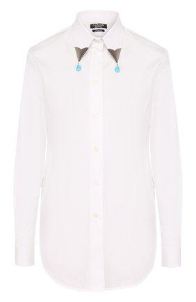 Хлопковая блуза прямого кроя с декорированным воротником | Фото №1