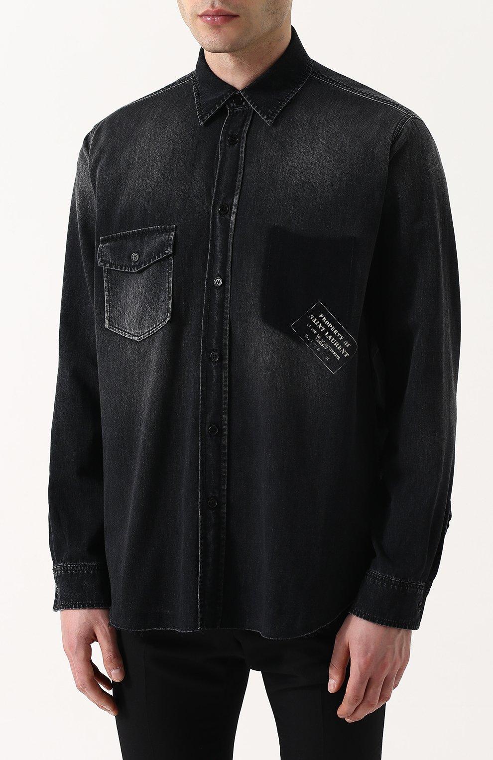 80f471960c8 Мужская темно-серая джинсовая рубашка с потертостями SAINT LAURENT ...