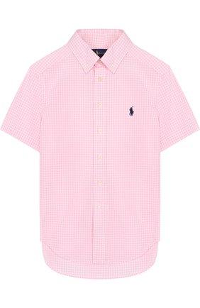 Детская хлопковая рубашка с воротником button down и коротким рукавом POLO RALPH LAUREN розового цвета, арт. 323692694 | Фото 1 (Материал внешний: Хлопок; Статус проверки: Проверена категория; Рукава: Короткие; Принт: С принтом; Случай: Повседневный)