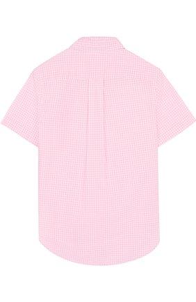 Детская хлопковая рубашка с воротником button down и коротким рукавом POLO RALPH LAUREN розового цвета, арт. 323692694 | Фото 2 (Материал внешний: Хлопок; Статус проверки: Проверена категория; Рукава: Короткие; Принт: С принтом; Случай: Повседневный)