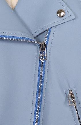 Укороченная кожаная куртка с косой молнией | Фото №3