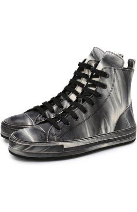 Высокие кожаные кеды на шнуровке Ann Demeulemeester черно-белые | Фото №1