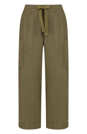 Укороченные льняные брюки с эластичным поясом Deha бежевые | Фото №1