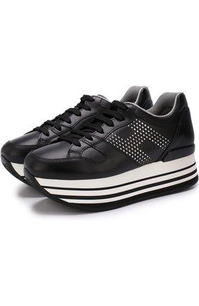 Кожаные кроссовки со стразами на платформе Hogan черные | Фото №1