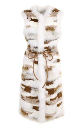 Жилет из меха кролика и меха песца с поясом | Фото №1
