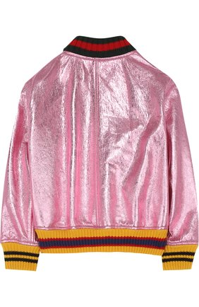 Куртка-бомбер из металлизированной кожи | Фото №2