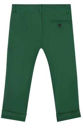 Детские брюки из хлопка с контрастной отделкой GUCCI зеленого цвета, арт. 475408/XBB56 | Фото 2