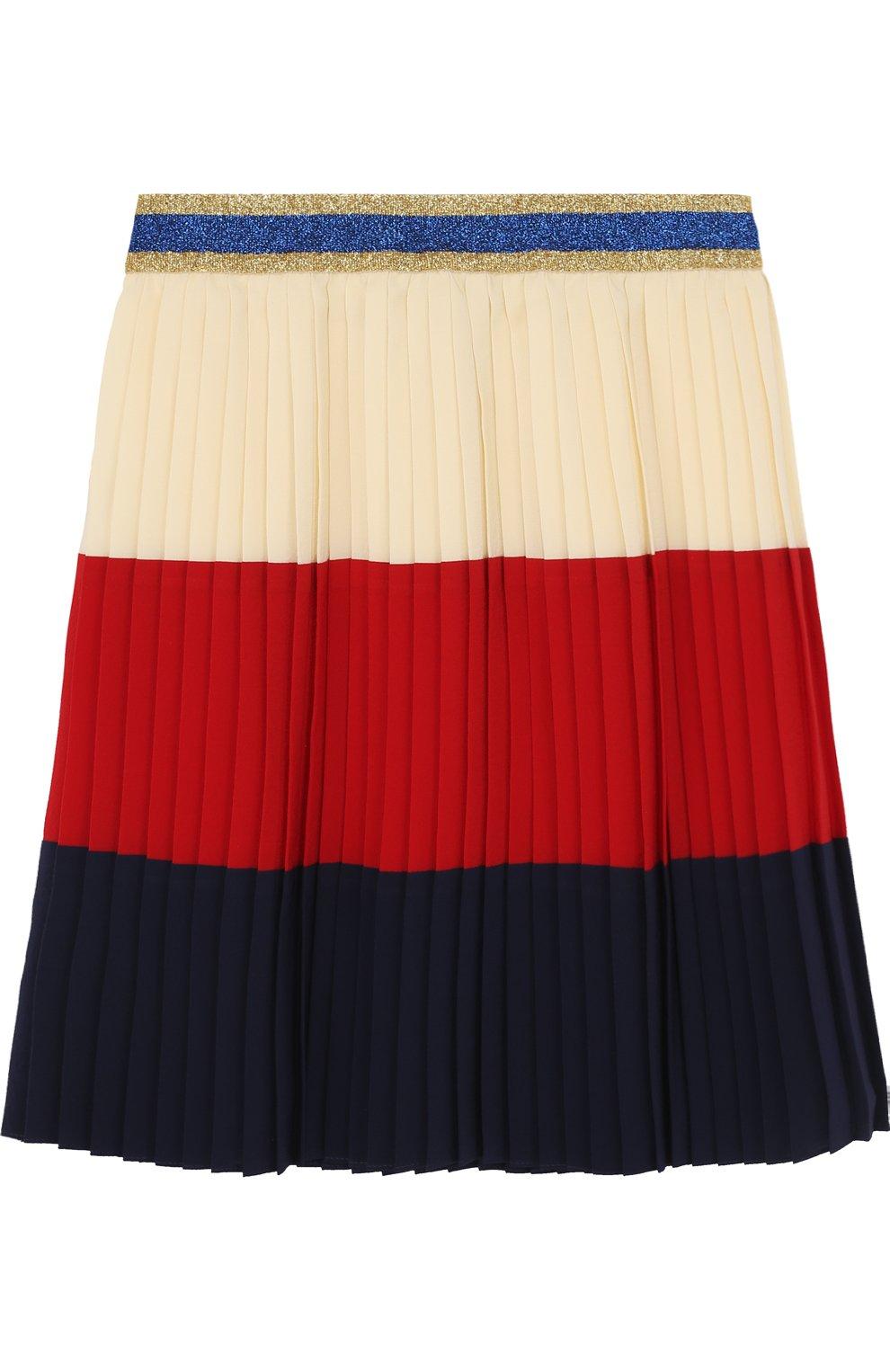 Плиссированная юбка с металлизированной отделкой на поясе | Фото №1