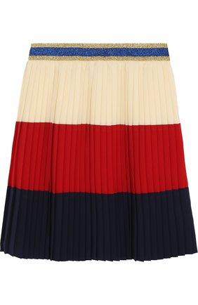 Плиссированная юбка с металлизированной отделкой на поясе | Фото №2