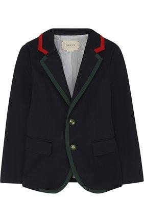 Однобортный пиджак из хлопка с контрастной отделкой | Фото №1