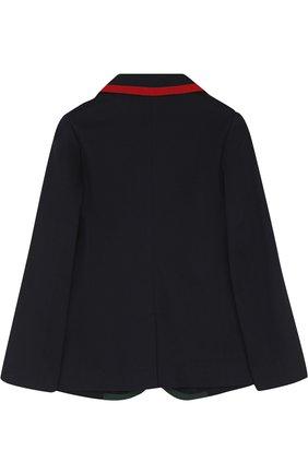 Однобортный пиджак из хлопка с контрастной отделкой | Фото №2