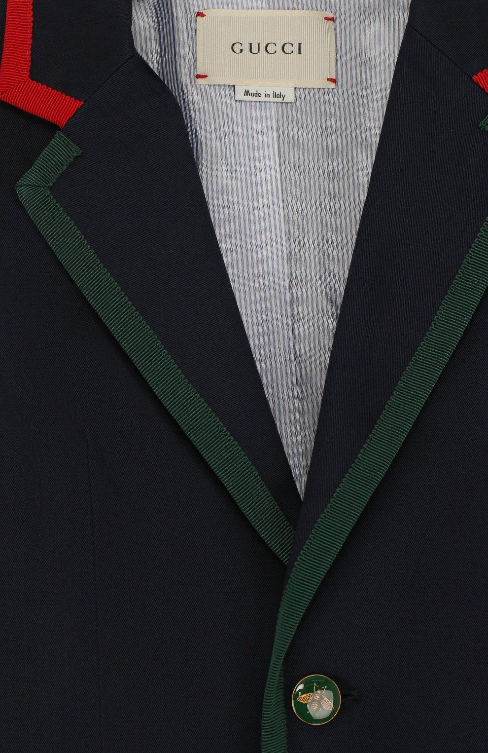 Однобортный пиджак из хлопка с контрастной отделкой | Фото №3