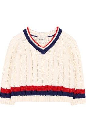 Детский хлопковый пуловер с контрастной отделкой и v-образным вырезом GUCCI белого цвета, арт. 498314/X3I49   Фото 1