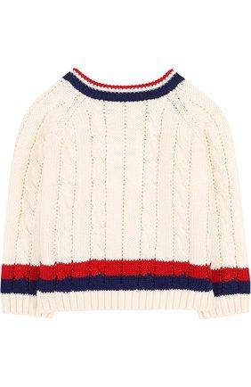 Детский хлопковый пуловер с контрастной отделкой и v-образным вырезом GUCCI белого цвета, арт. 498314/X3I49 | Фото 2