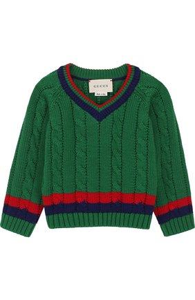 Детский хлопковый пуловер с контрастной отделкой и v-образным вырезом GUCCI зеленого цвета, арт. 498314/X3I49 | Фото 1