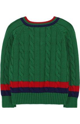 Детский хлопковый пуловер с контрастной отделкой и v-образным вырезом GUCCI зеленого цвета, арт. 498314/X3I49   Фото 2