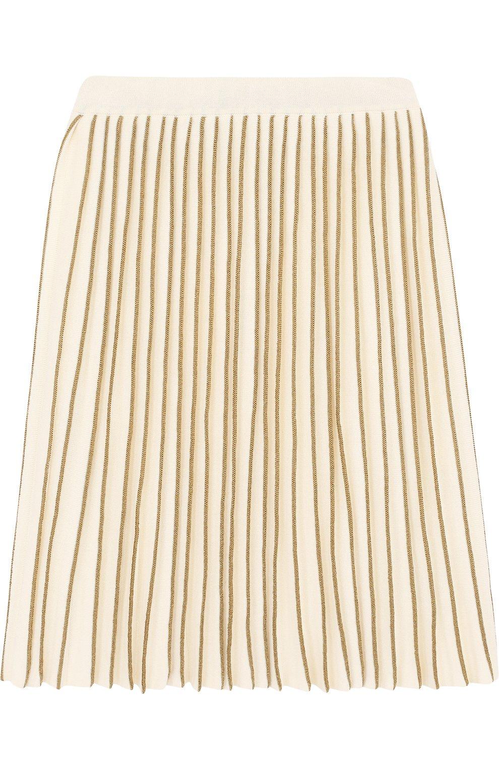 Плиссированная юбка с металлизированной отделкой | Фото №1