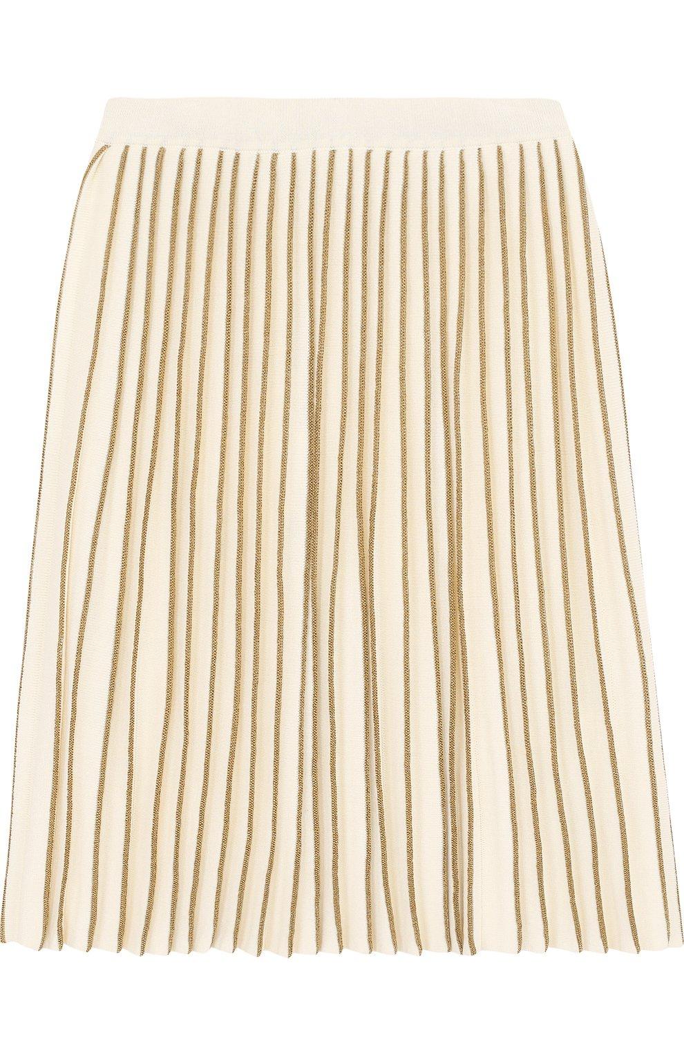 Плиссированная юбка с металлизированной отделкой | Фото №2