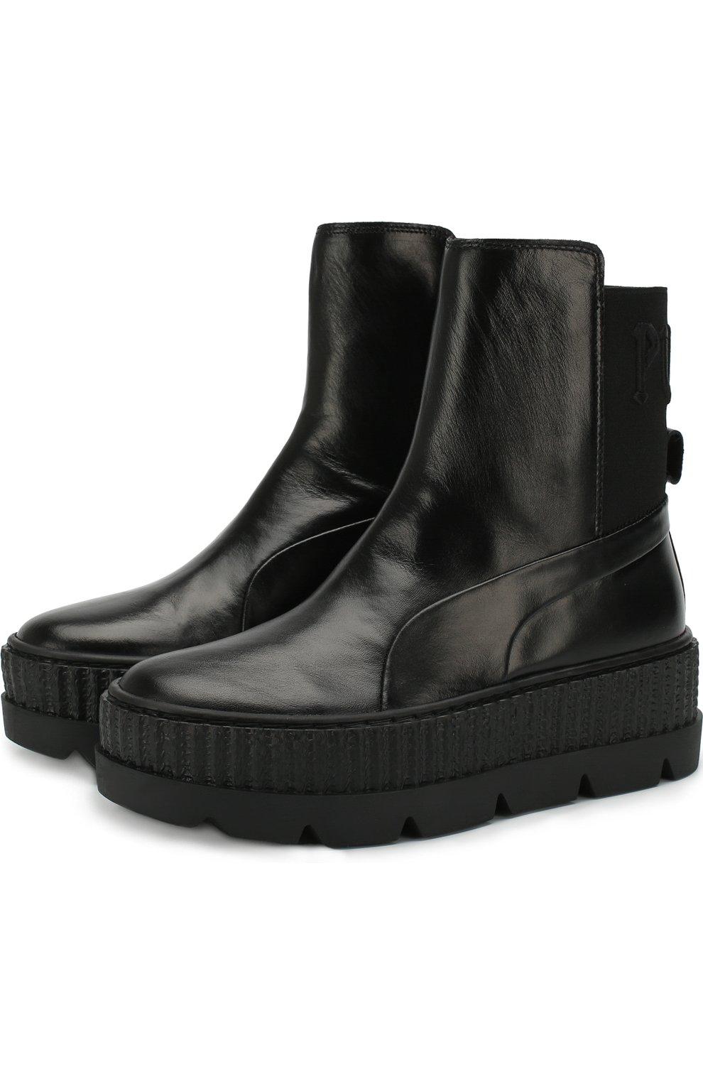 3a53fd07c659 Женские черные кожаные ботинки fenty x puma by rihanna FENTY PUMA BY ...