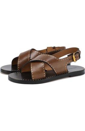 Кожаные сандалии с заклепками | Фото №1