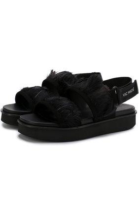 Замшевые сандалии с отделкой пером | Фото №1
