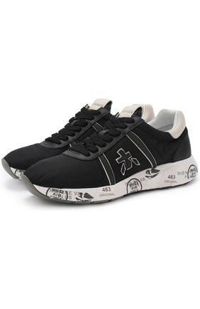 Комбинированные кроссовки Mattew-D на шнуровке Premiata черные | Фото №1