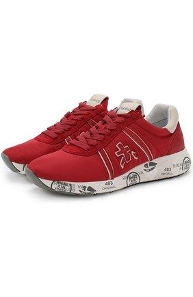 Комбинированные кроссовки Mattew-D на шнуровке Premiata красные | Фото №1