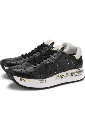 Кожаные кроссовки Conny с перфорацией Premiata черные | Фото №1