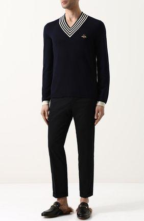 Мужской шерстяной пуловер GUCCI синего цвета, арт. 496442/X9I00 | Фото 2