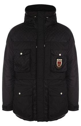 Мужская утепленная куртка на молнии с капюшоном GUCCI черного цвета, арт. 495713/Z705C | Фото 1