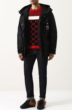 Мужская утепленная куртка на молнии с капюшоном GUCCI черного цвета, арт. 495713/Z705C | Фото 2