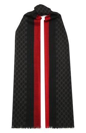 Мужской шерстяной шарф с необработанным краем GUCCI черного цвета, арт. 497915/4G200 | Фото 1