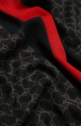 Мужской шерстяной шарф с необработанным краем GUCCI черного цвета, арт. 497915/4G200 | Фото 2
