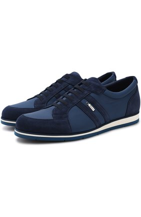 Кожаные кроссовки на шнуровке с замшевой отделкой   Фото №1