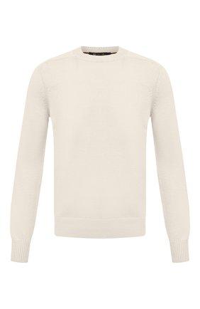 Мужской свитер из хлопка и шелка LORO PIANA белого цвета, арт. FAI0661 | Фото 1