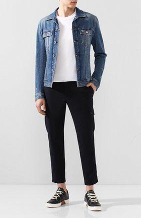 Кожаные кеды на шнуровке Zegna Couture темно-синие | Фото №1