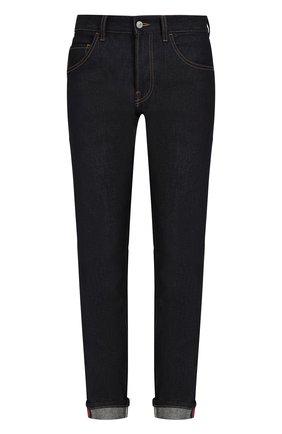 Мужские джинсы прямого кроя с отворотами GUCCI темно-синего цвета, арт. 430368/XR188 | Фото 1