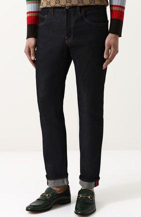 Мужские джинсы прямого кроя с отворотами GUCCI темно-синего цвета, арт. 430368/XR188 | Фото 3