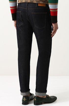 Мужские джинсы прямого кроя с отворотами GUCCI темно-синего цвета, арт. 430368/XR188 | Фото 4