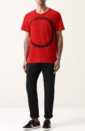 Джинсы прямого кроя Gucci черные | Фото №2