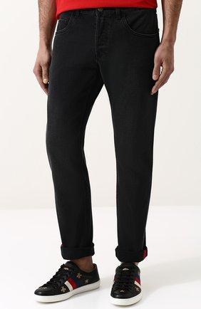 Джинсы прямого кроя Gucci черные | Фото №3