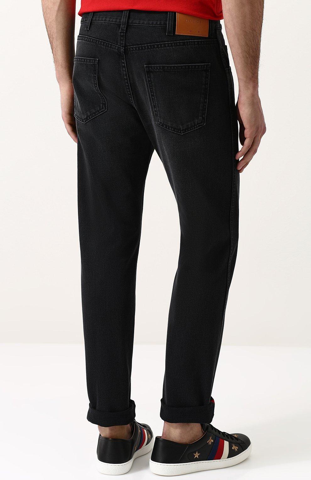 Джинсы прямого кроя Gucci черные | Фото №4