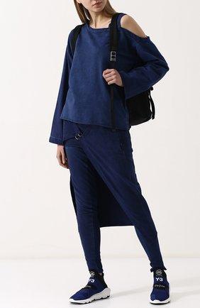 Высокие текстильные кроссовки Suberou Y-3 синие | Фото №1