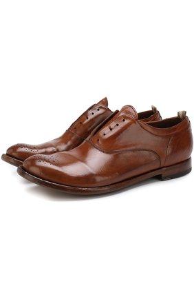 Кожаные оксфорды без шнуровки с брогированием Officine Creative коричневые   Фото №1
