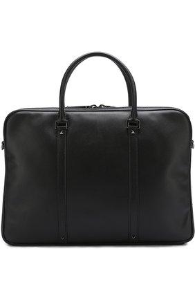 Кожаная сумка для ноутбука Valentino Garavani с плечевым ремнем | Фото №1