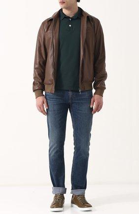 Мужские кожаные кеды на шнуровке GIANVITO ROSSI оливкового цвета, арт. S20266.M1WHT.CLN0LWH | Фото 2