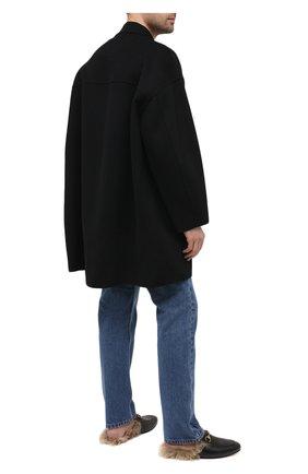 Мужские кожаные сабо princetown с меховой отделкой GUCCI черного цвета, арт. 397647/DKHH0 | Фото 2