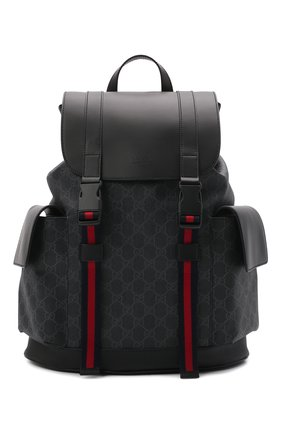 Мужской рюкзак gg supreme с клапаном GUCCI черного цвета, арт. 495563/K9R8X | Фото 1