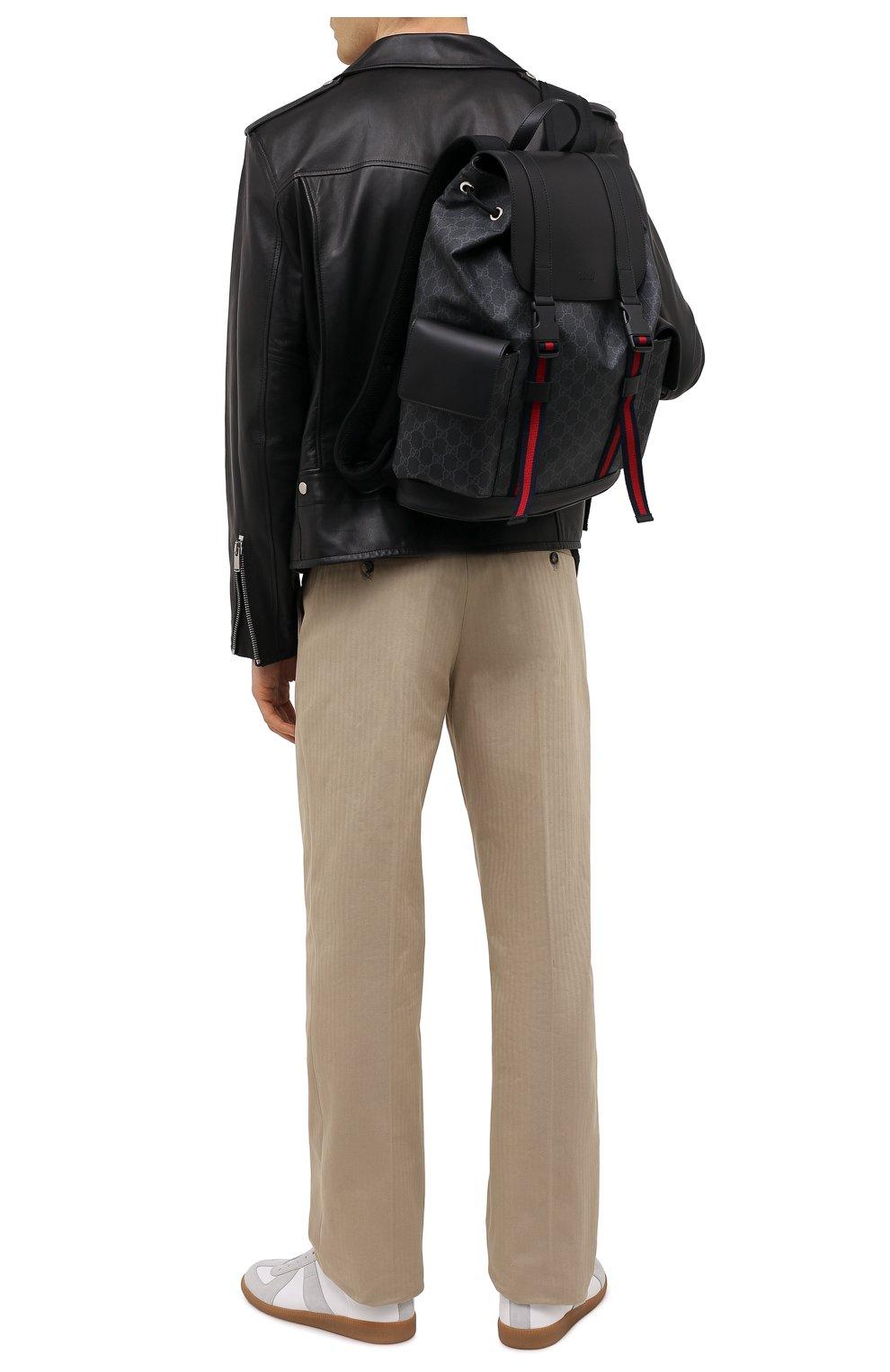 Мужской рюкзак gg supreme с клапаном GUCCI черного цвета, арт. 495563/K9R8X | Фото 2
