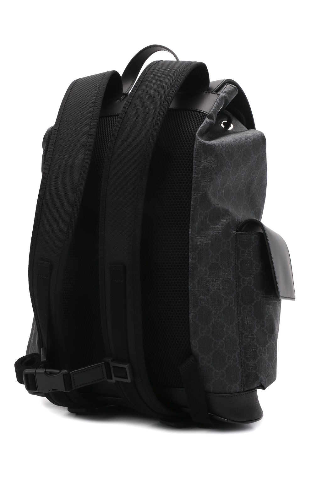 Мужской рюкзак gg supreme с клапаном GUCCI черного цвета, арт. 495563/K9R8X | Фото 3